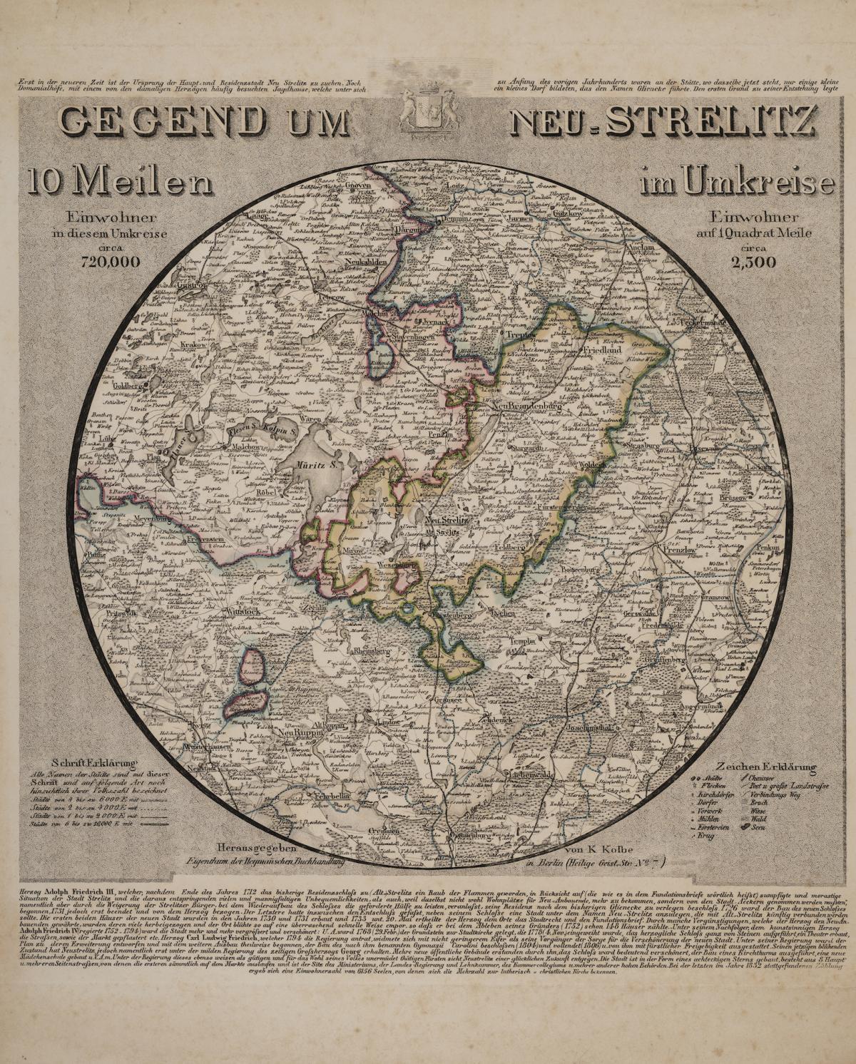 Karl Kolbe: Rundkarte - Gegend um Neustrelitz, nach 1835